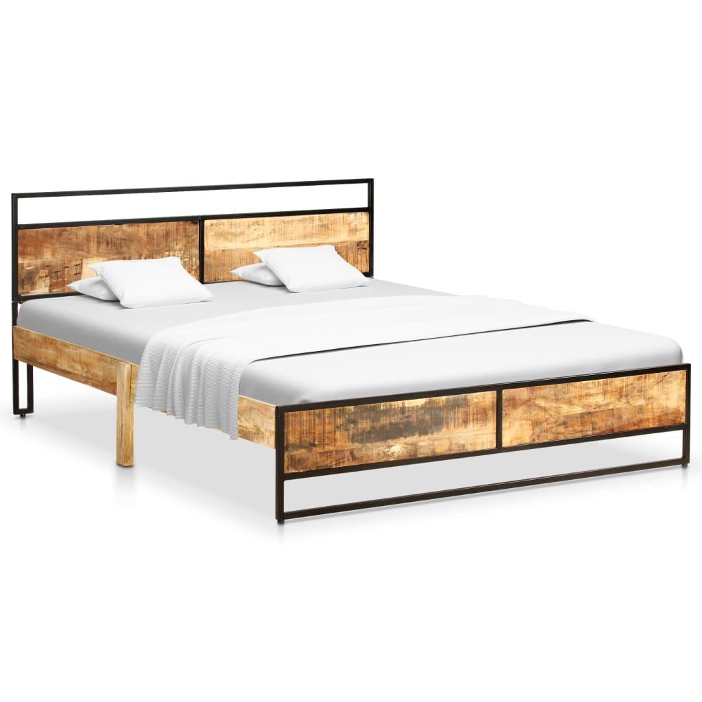 vidaXL Cadru de pat, 140 x 200 cm, lemn masiv de mango nefinisat poza 2021 vidaXL