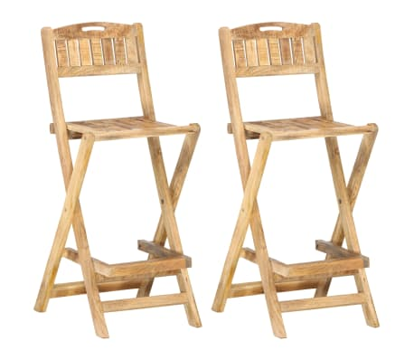 vidaXL Tuinbarstoelen inklapbaar 2 st massief mangohout