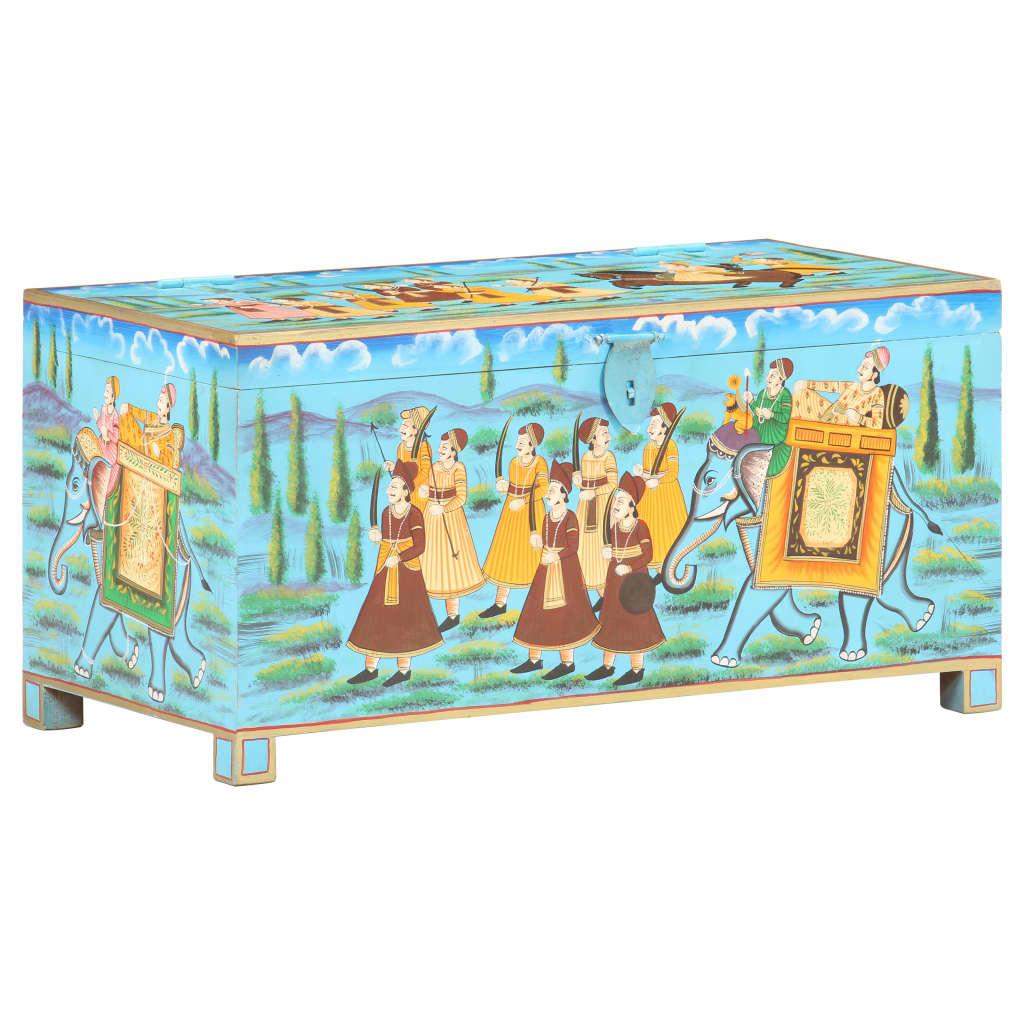 Ručně malovaný úložný box 80 x 40 x 40 cm masivní mangovník