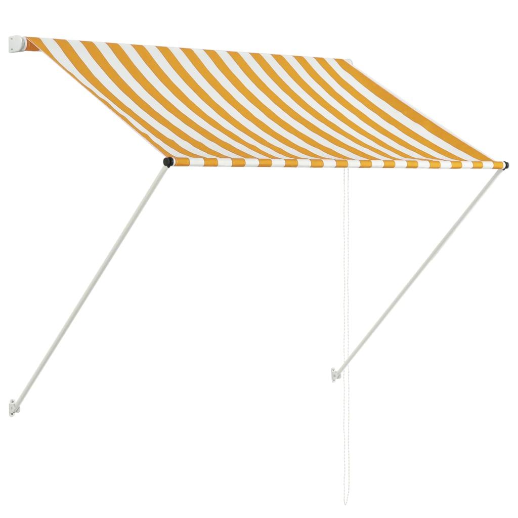 vidaXL Zatahovací markýza 100 x 150 cm žluto-bílá