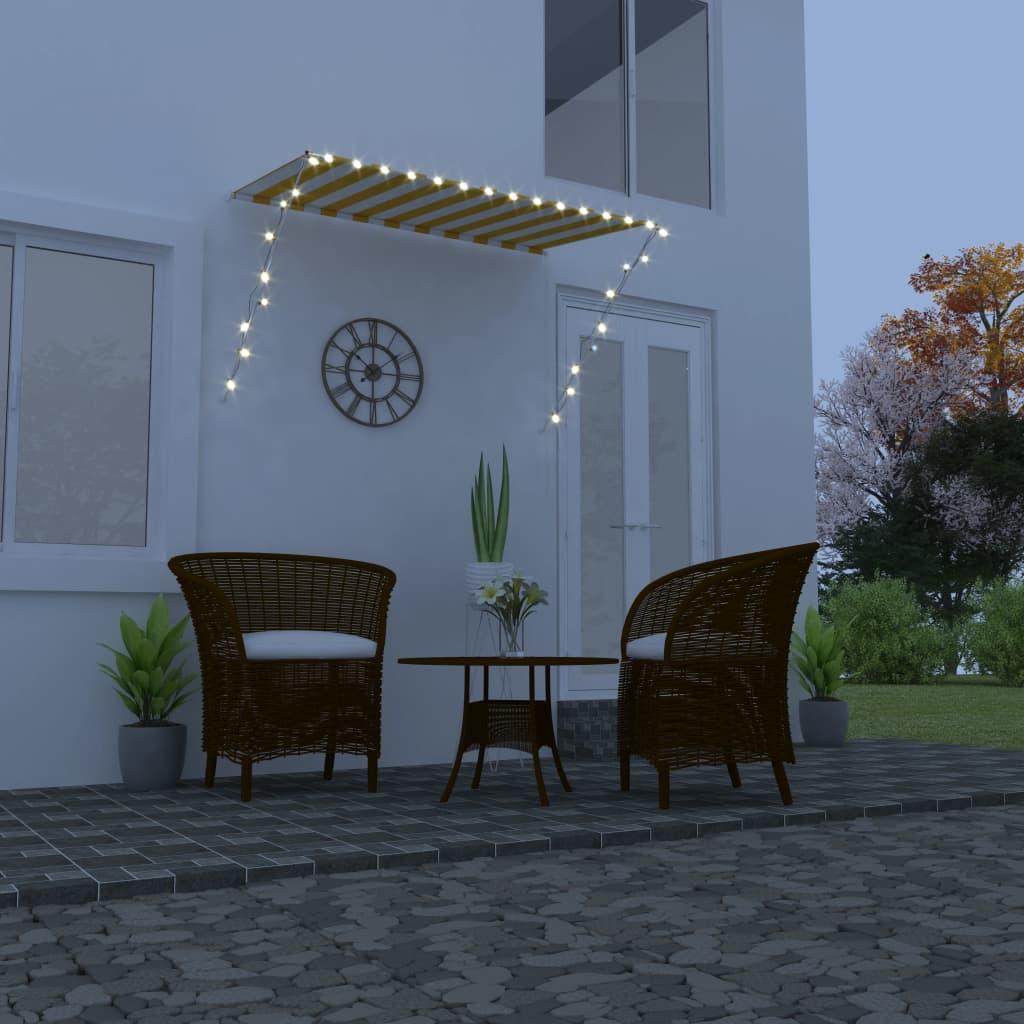 Zatahovací markýza s LED světlem 250 x 150 cm žlutobílá