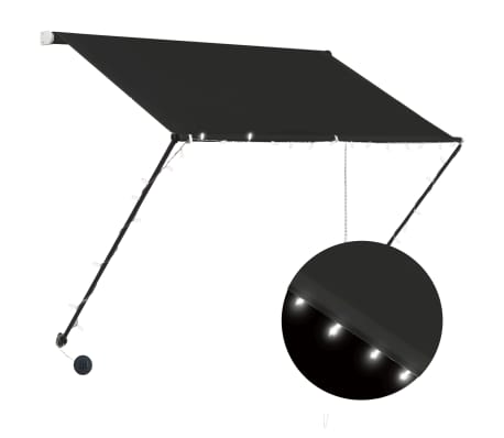 """vidaXL Retractable Awning with LED 39.4""""x59.1"""" Anthracite"""