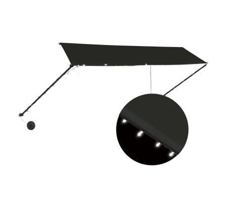 """vidaXL Retractable Awning with LED 137.8""""x59.1"""" Anthracite"""