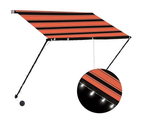 vidaXL Luifel uittrekbaar met LED 100x150 cm oranje en bruin