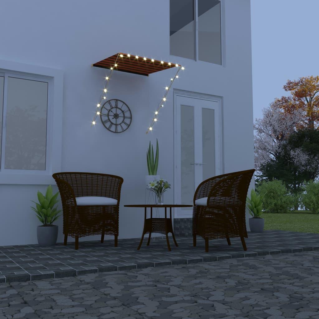 Zatahovací markýza s LED světlem 100 x 150 cm oranžovo-hnědá