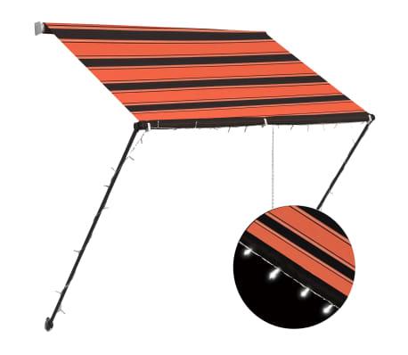 vidaXL Luifel uittrekbaar met LED 150x150 cm oranje en bruin