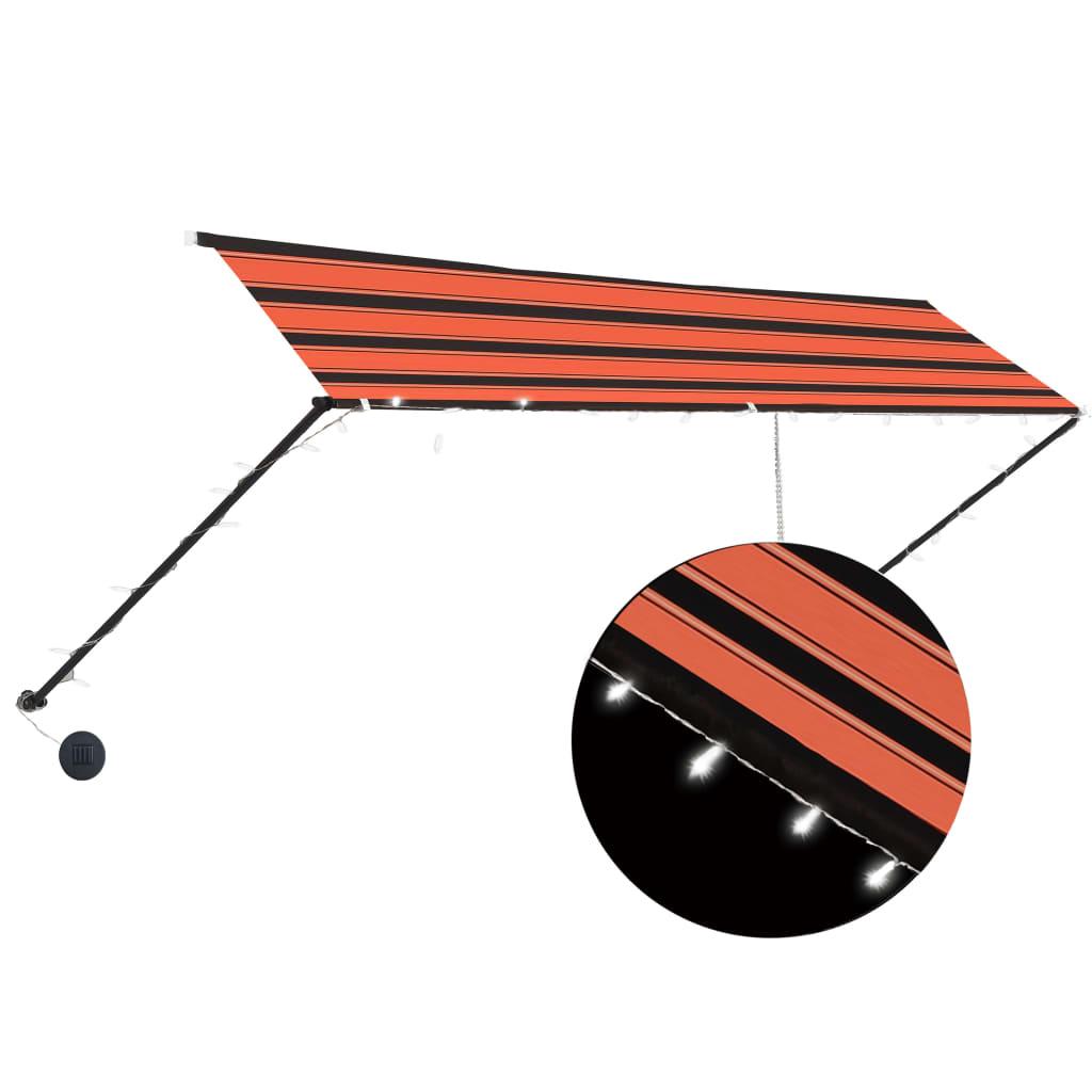 vidaXL Copertină retractabilă cu LED, portocaliu & maro, 400 x 150 cm poza vidaxl.ro