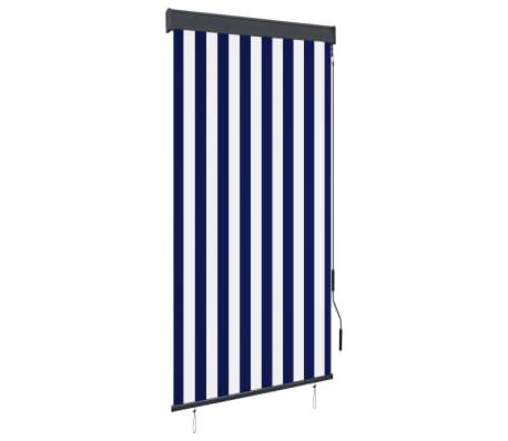 vidaXL Rolgordijn voor buiten 80x250 cm blauw en wit