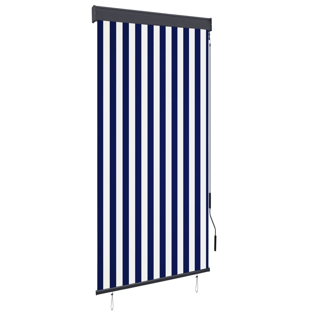 999145955 Außenrollo 100 x 250 cm Blau und Weiß