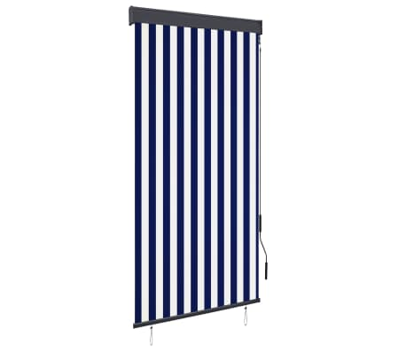 vidaXL Rolgordijn voor buiten 100x250 cm blauw en wit