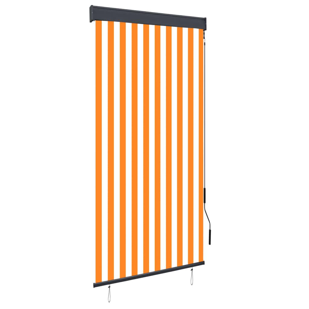 vidaXL Jaluzea tip rulou de exterior, alb și portocaliu, 100 x 250 cm poza vidaxl.ro