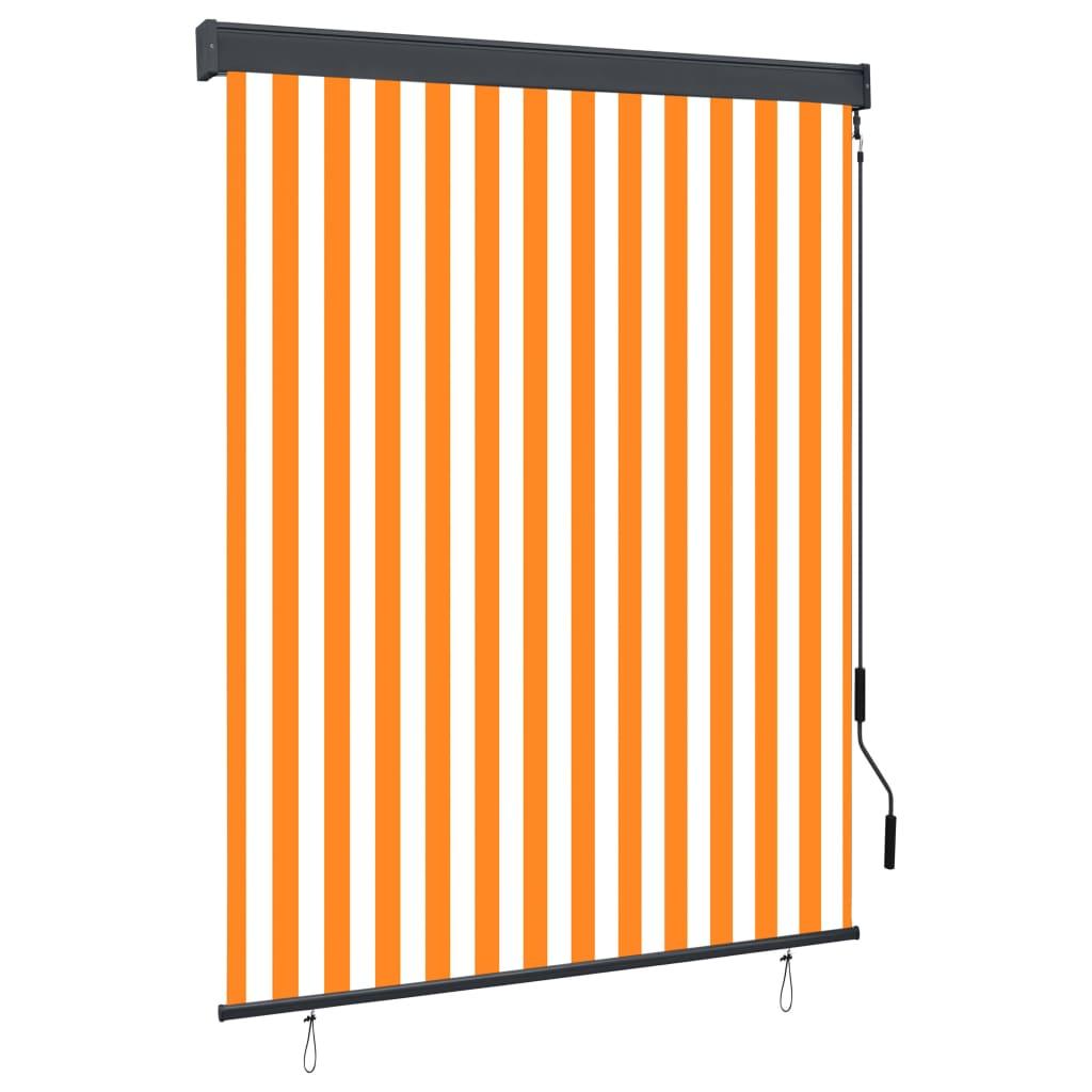vidaXL Jaluzea tip rulou de exterior, alb și portocaliu, 140 x 250 cm imagine vidaxl.ro