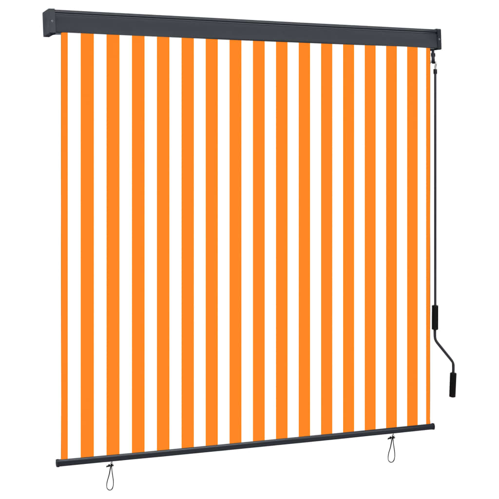 vidaXL Jaluzea tip rulou de exterior, alb și portocaliu, 160 x 250 cm vidaxl.ro