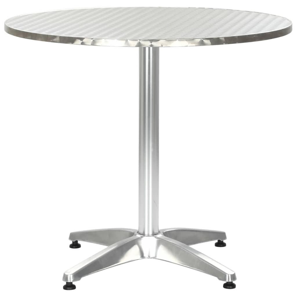 vidaXL Stół ogrodowy, srebrny, 80x70 cm, aluminiowy