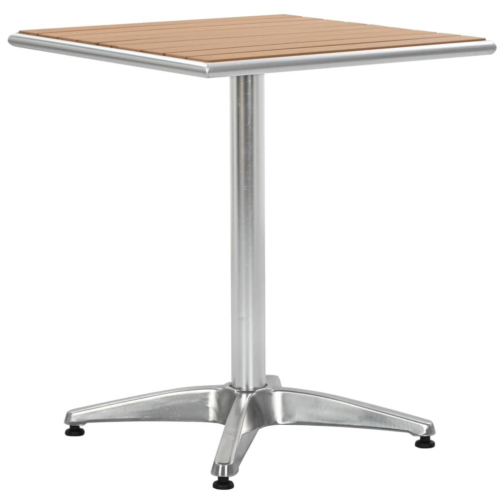 vidaXL Stół ogrodowy, srebrny, 60x60x70 cm, aluminium i WPC