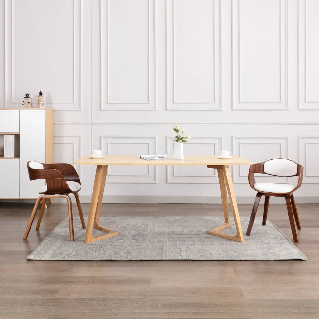 <ul><li>Farbe: Weiß</li><li>Material: Kunstleder (55% Polyurethan, 45% Baumwolle), Bugholz, Schaum</li><li>Gesamtabmessung: 49 x 51,5 x 71,5 cm (B x T x H)</li><li>Sitzbreite: 40 cm</li><li>Sitztiefe: 39 cm</li><li>Sitzhöhe vom Boden: 49 cm</li><li>Rückenlehnen-Höhe: 30 cm</li><li>Armlehnenhöhe: 19 cm</li><li>Montage erforderlich: Ja</li><li><strong>Lieferung enthält:</strong></li><li>2 x Esszimmerstuhl</li></ul>