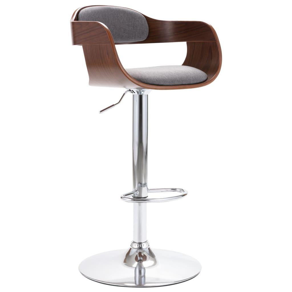 vidaXL Krzesło barowe, sklejka i szara tkanina