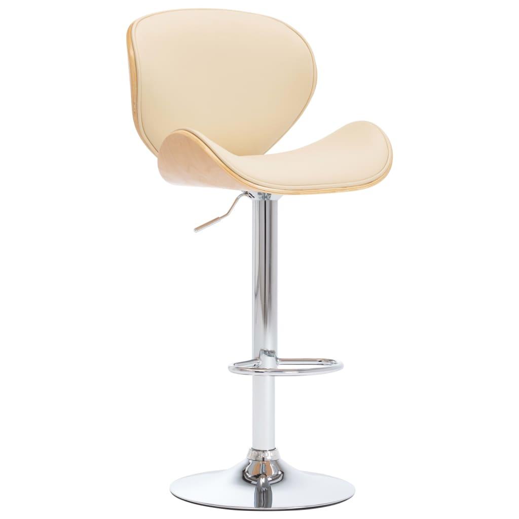 vidaXL Krzesło barowe, kremowe, sztuczna skóra