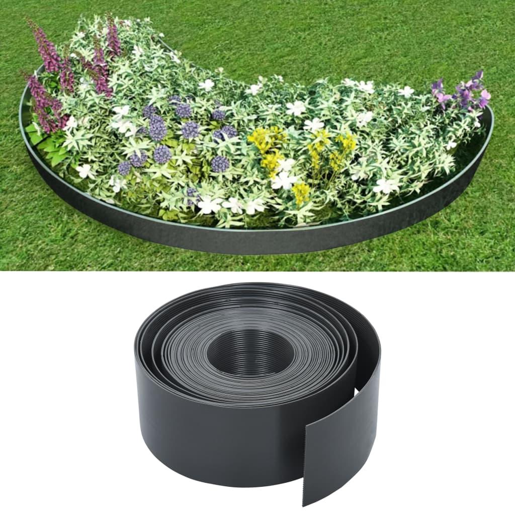 vidaXL Bordură de grădină, gri, 10 m, 10 cm, PE imagine vidaxl.ro