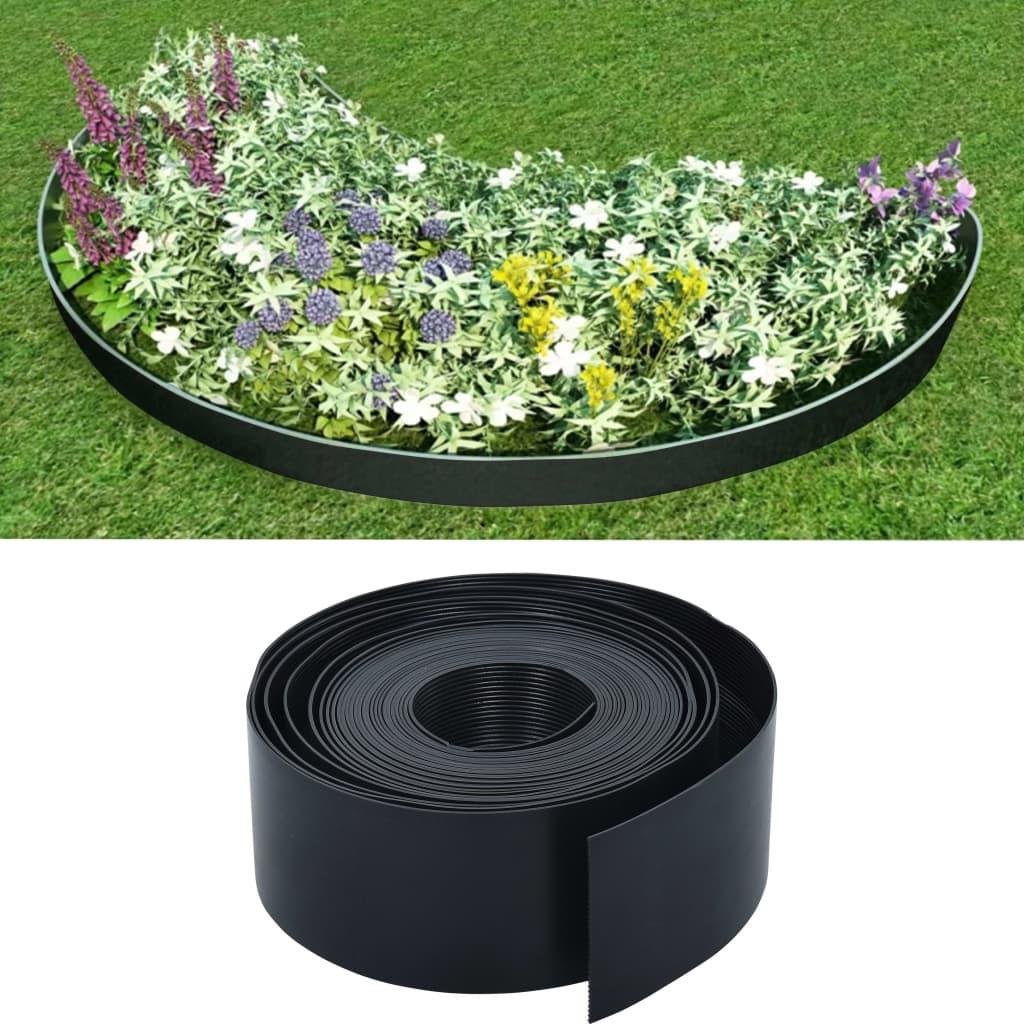 vidaXL Bordură de grădină, negru, 10 m, 10 cm, PE imagine vidaxl.ro