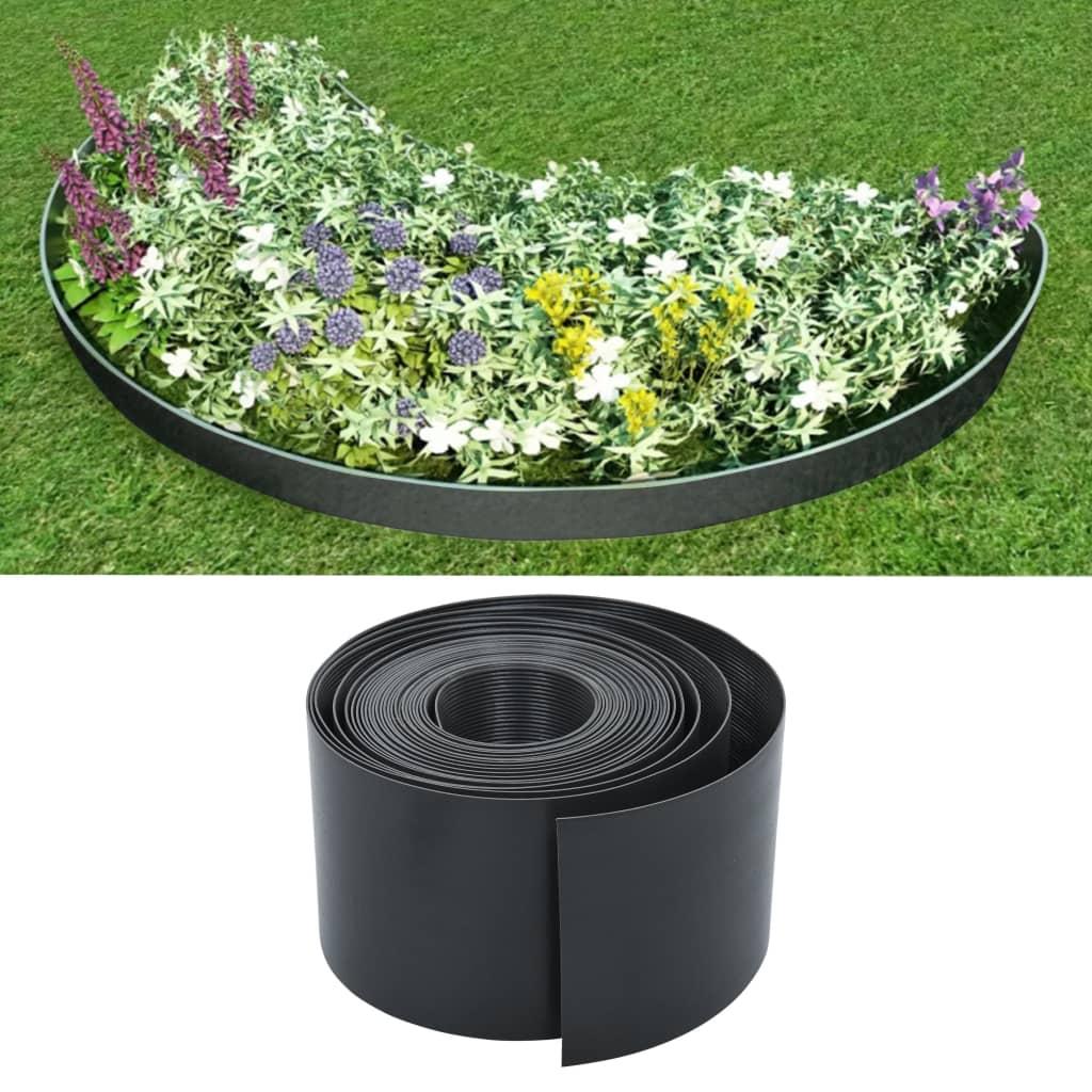 vidaXL Bordură de grădină, gri, 10 m, 15 cm, PE imagine vidaxl.ro
