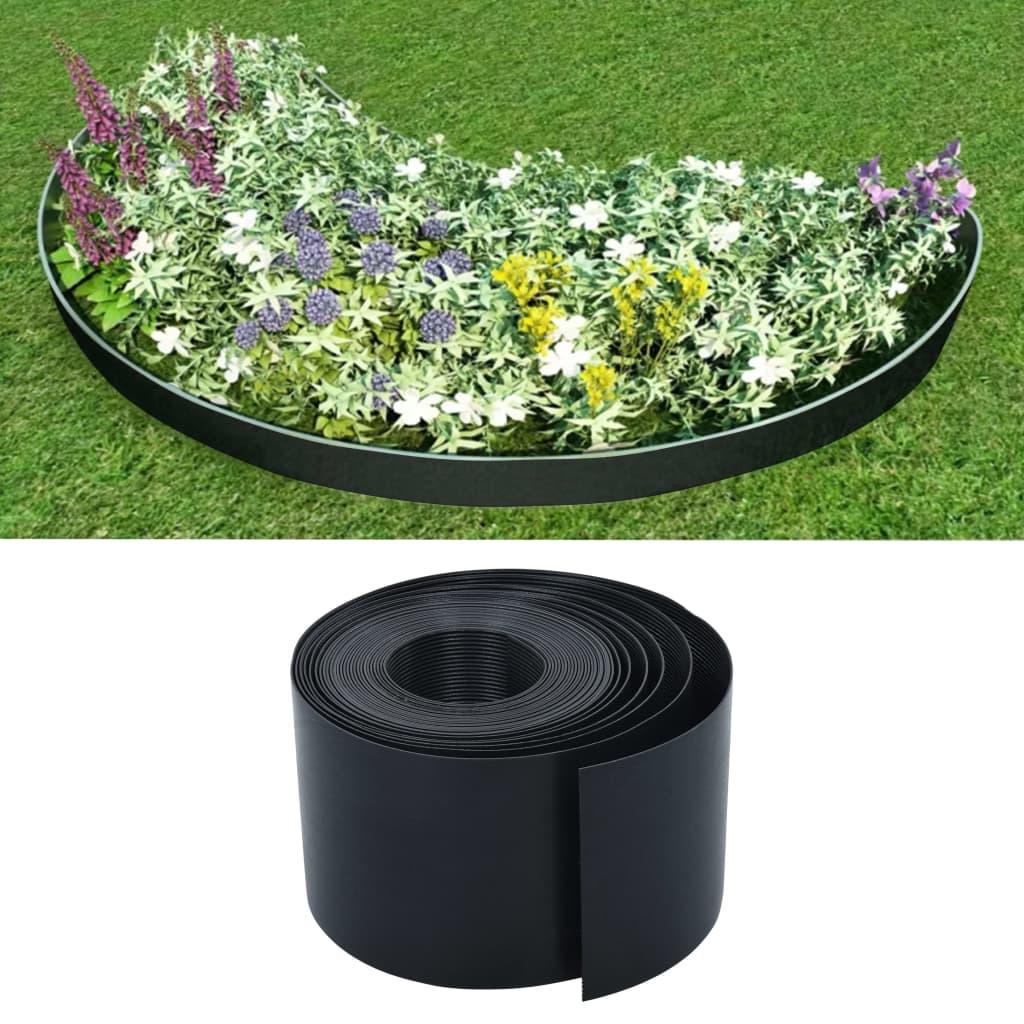 vidaXL Bordură de grădină, negru, 10 m, 15 cm, PE imagine vidaxl.ro