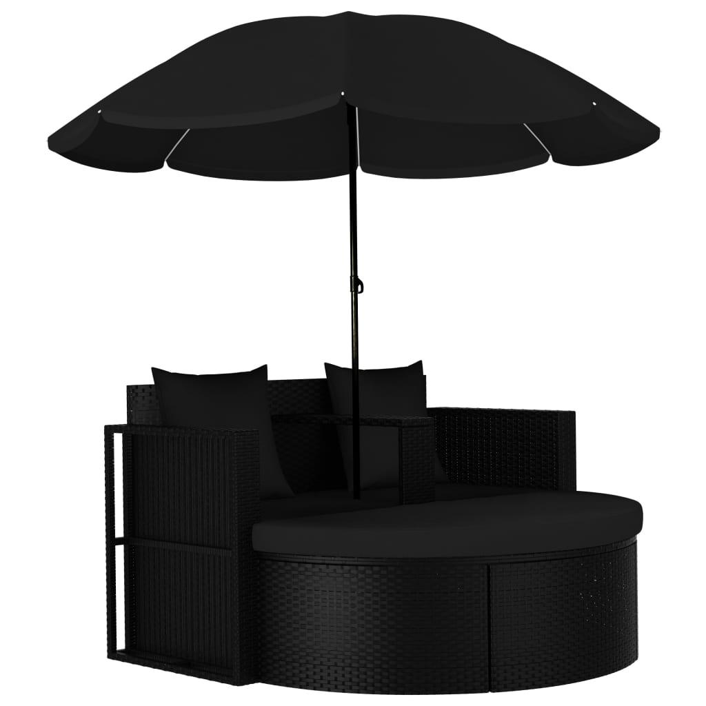 vidaXL Pat de grădină cu umbrelă de soare, negru, poliratan poza vidaxl.ro