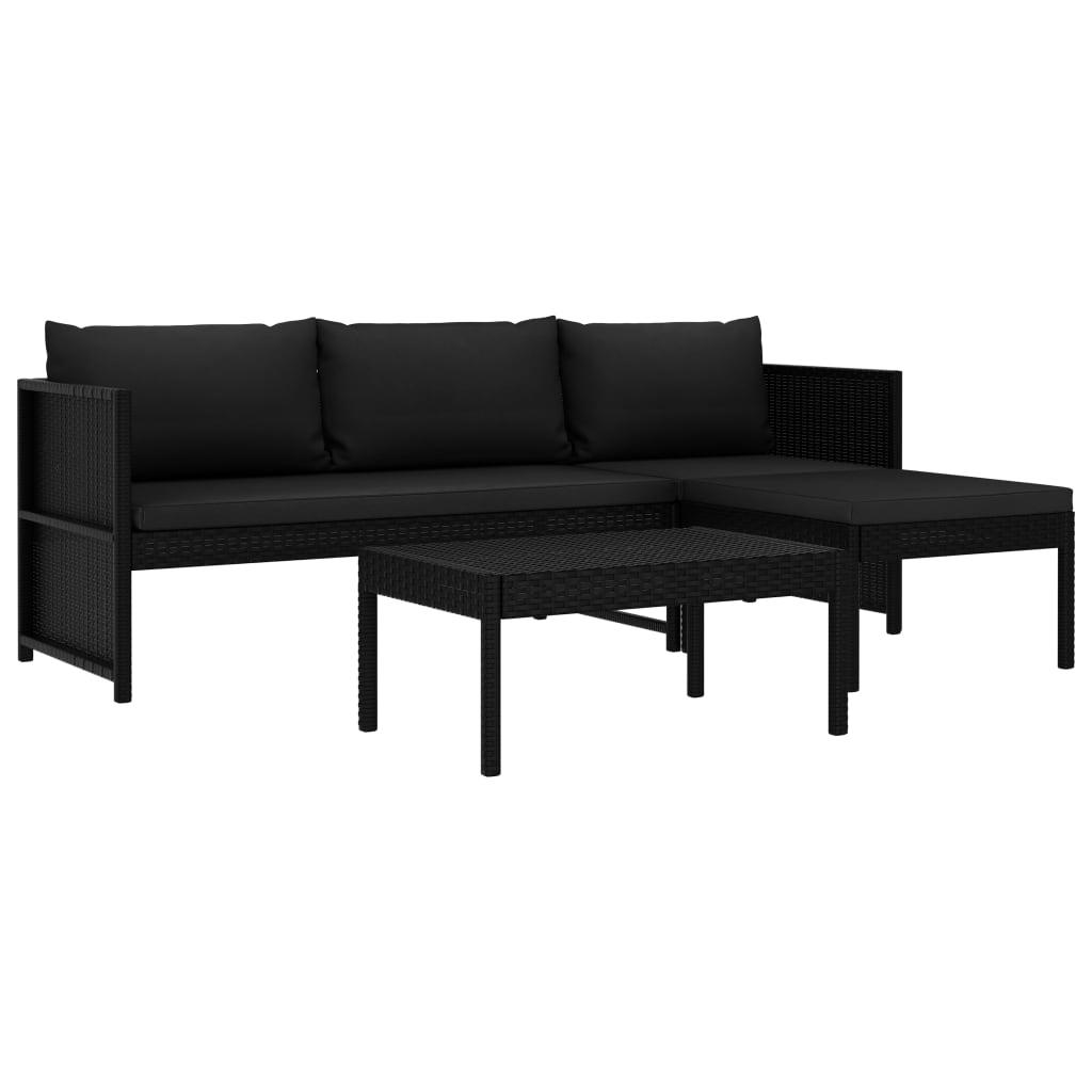 vidaXL Set mobilier de grădină cu perne, 3 piese, negru, poliratan poza vidaxl.ro