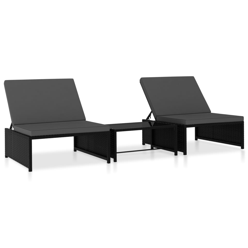 vidaXL Καρέκλες/Ξαπλώστρα 2 τεμ. Μαύρο Συνθετικό Ρατάν με Τραπέζι