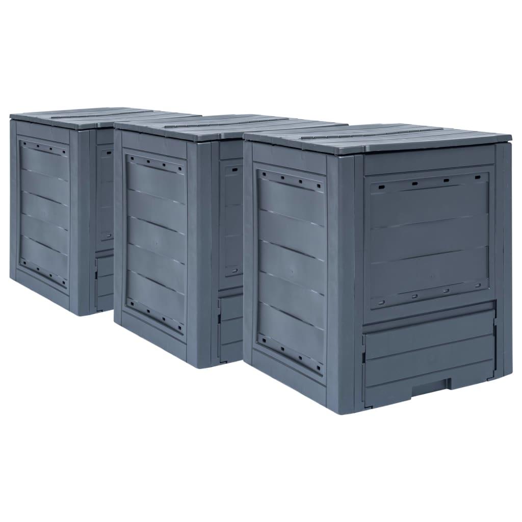 vidaXL Zahradní kompostéry 3 ks šedé 60 x 60 x 73 cm 780 l