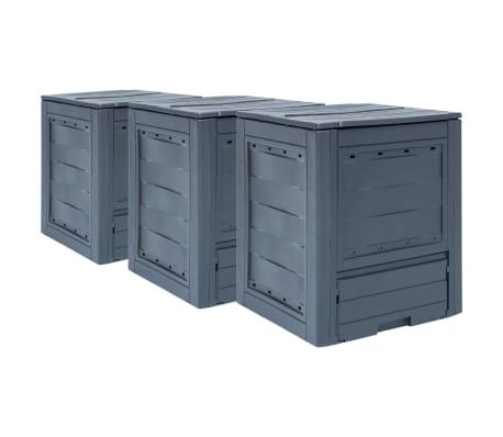 vidaXL dārza komposta kastes, 3 gab., pelēkas, 60x60x73 cm, 780 L