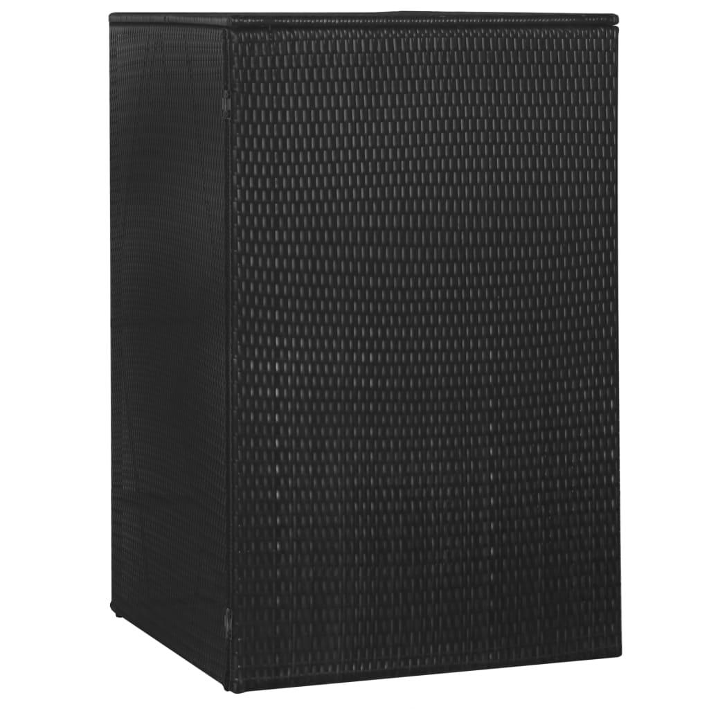 vidaXL Magazie de pubelă, negru, 76 x 78 x 120 cm, poliratan imagine vidaxl.ro