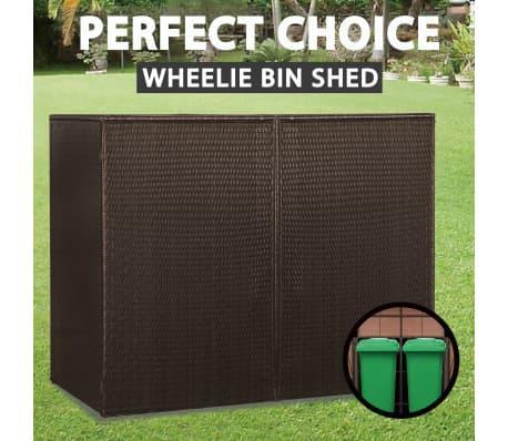 vidaXL Double Wheelie Bin Shed Weather Resistant Durable Outdoor Garden Trash Bin Covers Opening Doors Brown 153x78x120cm Poly Rattan