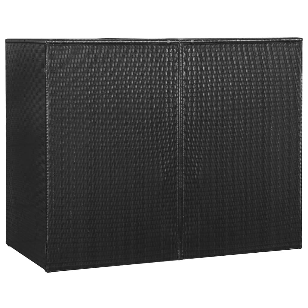 Dvojitý přístřešek na popelnice černý 153x78x120 cm polyratan