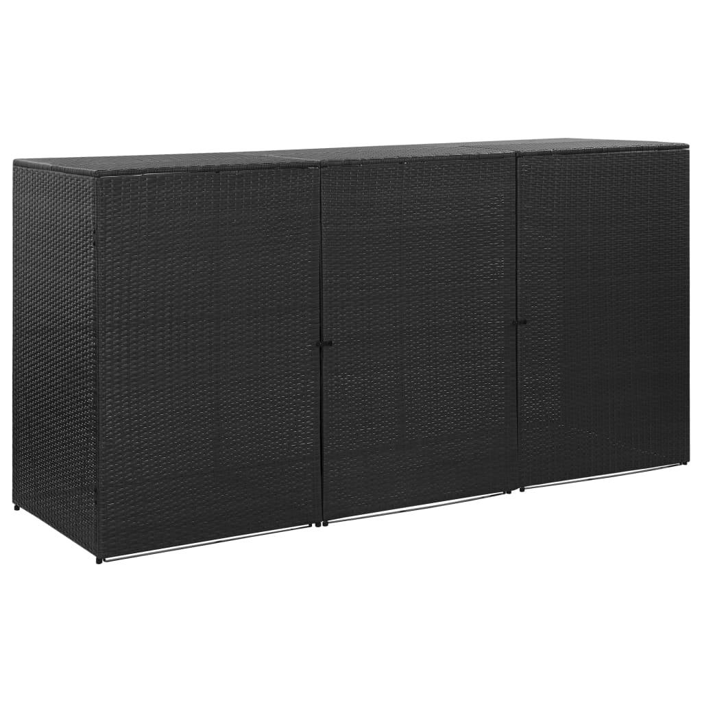Trojitý přístřešek na popelnice černý 229x78x120 cm polyratan