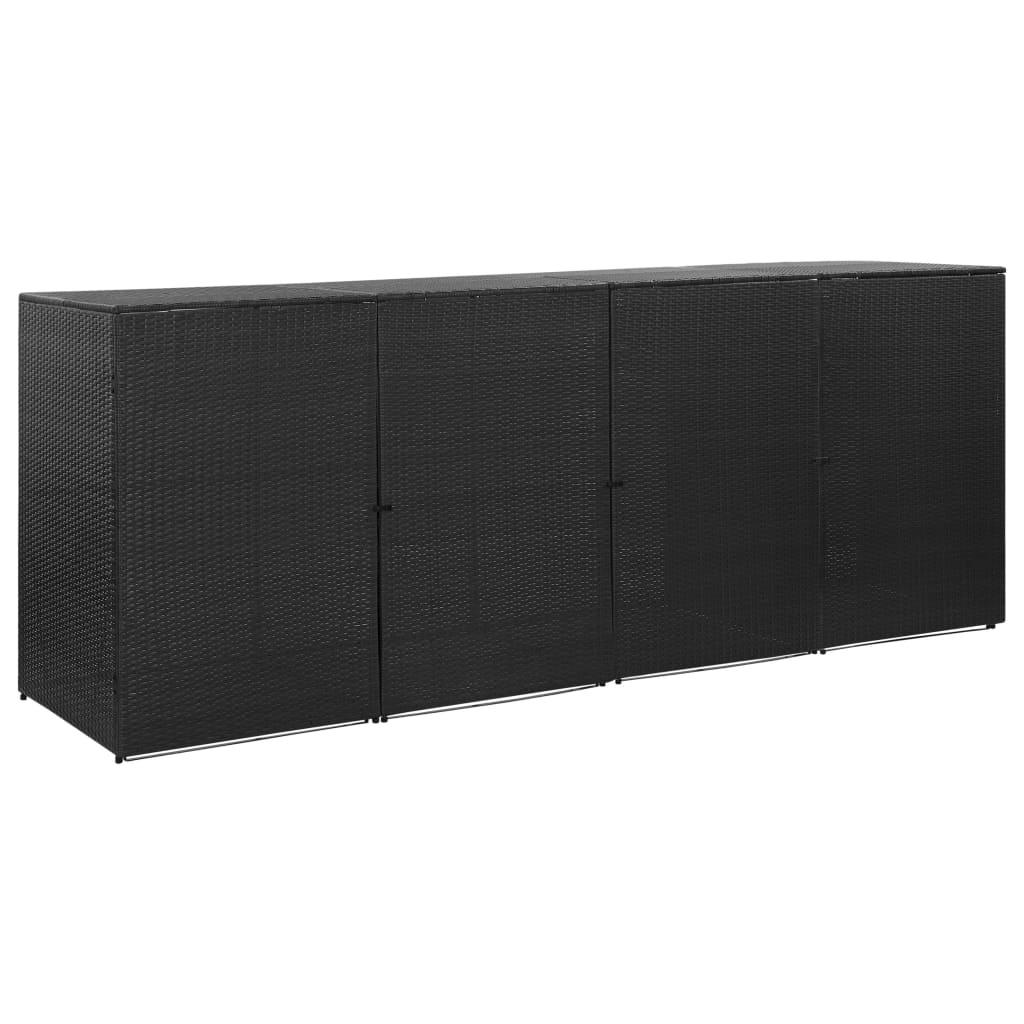 Přístřešek na 4 popelnice černý 305 x 78 x 120 cm polyratan
