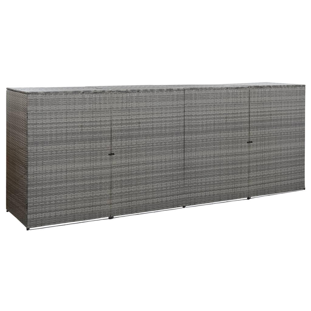 Přístřešek na 4 popelnice uhlový 305 x 78 x 120 cm polyratan