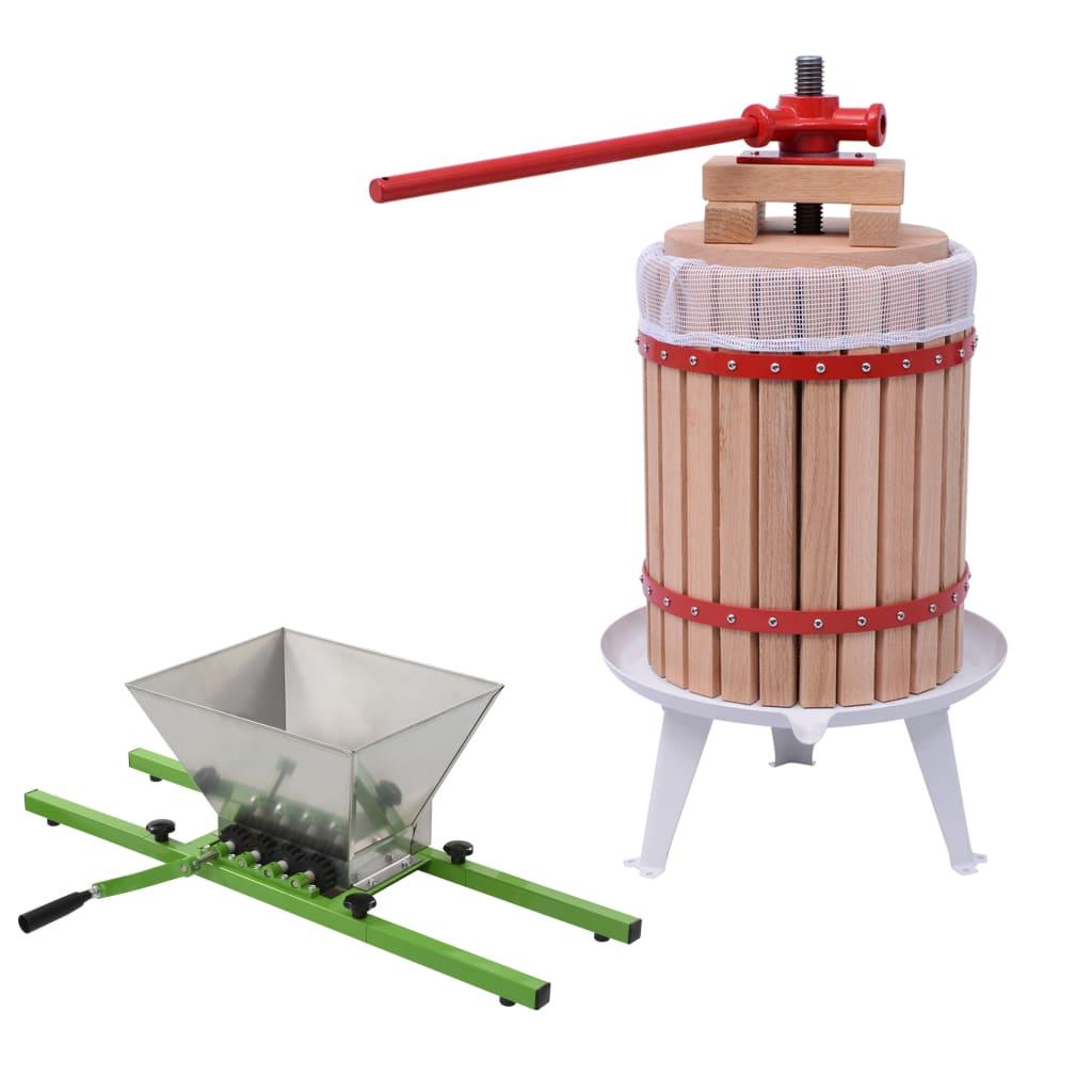 vidaXL 2dílný set drtič a lis na ovoce a víno