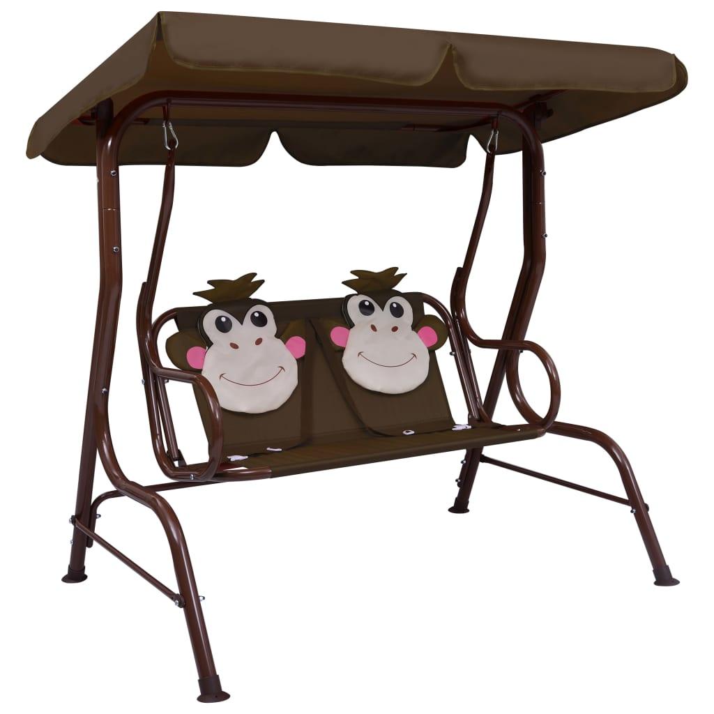 vidaXL Dětská houpací lavice hnědá 115 x 75 x 110 cm textil
