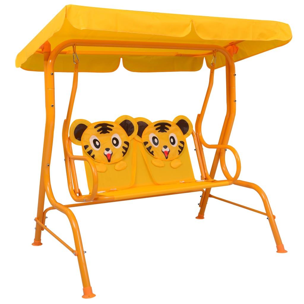 vidaXL Balansoar pentru copii, galben, 115 x 75 x 110 cm, textil imagine vidaxl.ro