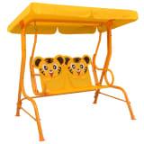 vidaXL Lasten keinupenkki keltainen 115x75x110 cm kangas