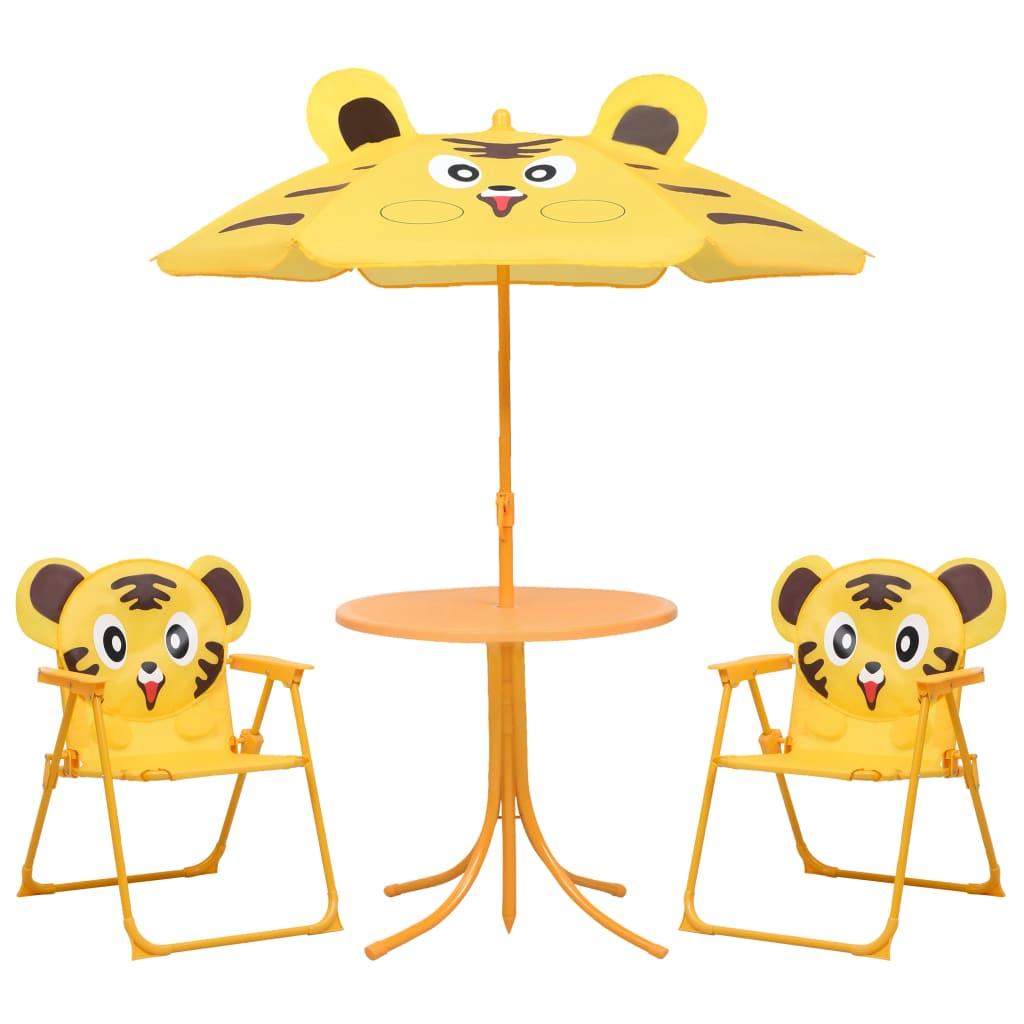 vidaXL 3dílný dětský zahradní bistro set se slunečníkem žlutý