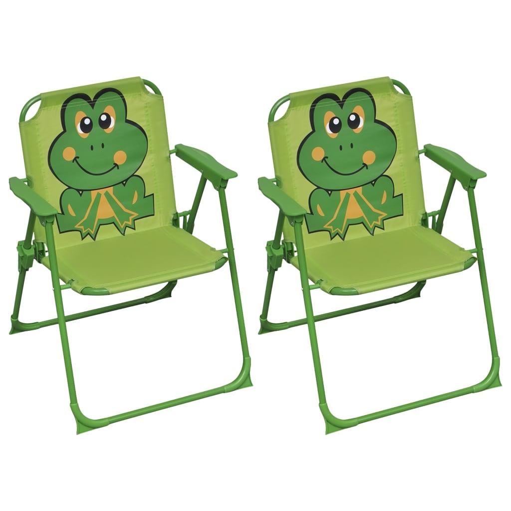 vidaXL Dětské zahradní židle 2 ks zelené textil