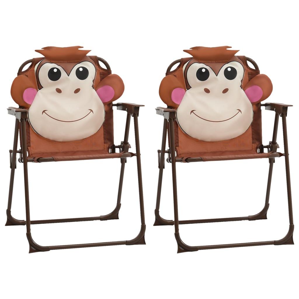 vidaXL Dětské zahradní židle 2 ks hnědé textil