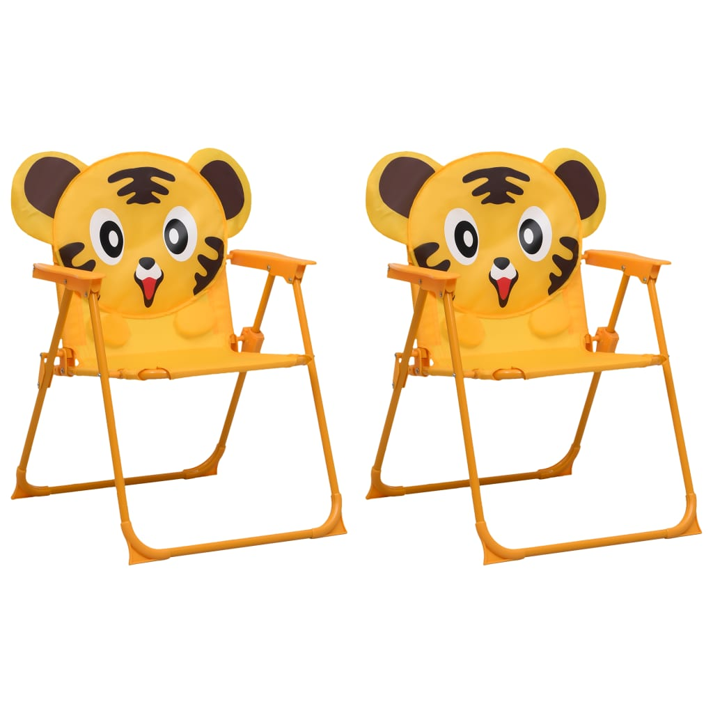 vidaXL Dětské zahradní židle 2 ks žluté textil