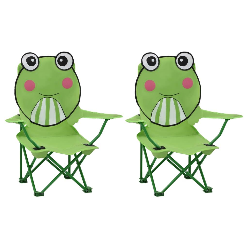 Dětské zahradní židle 2 ks zelené textil