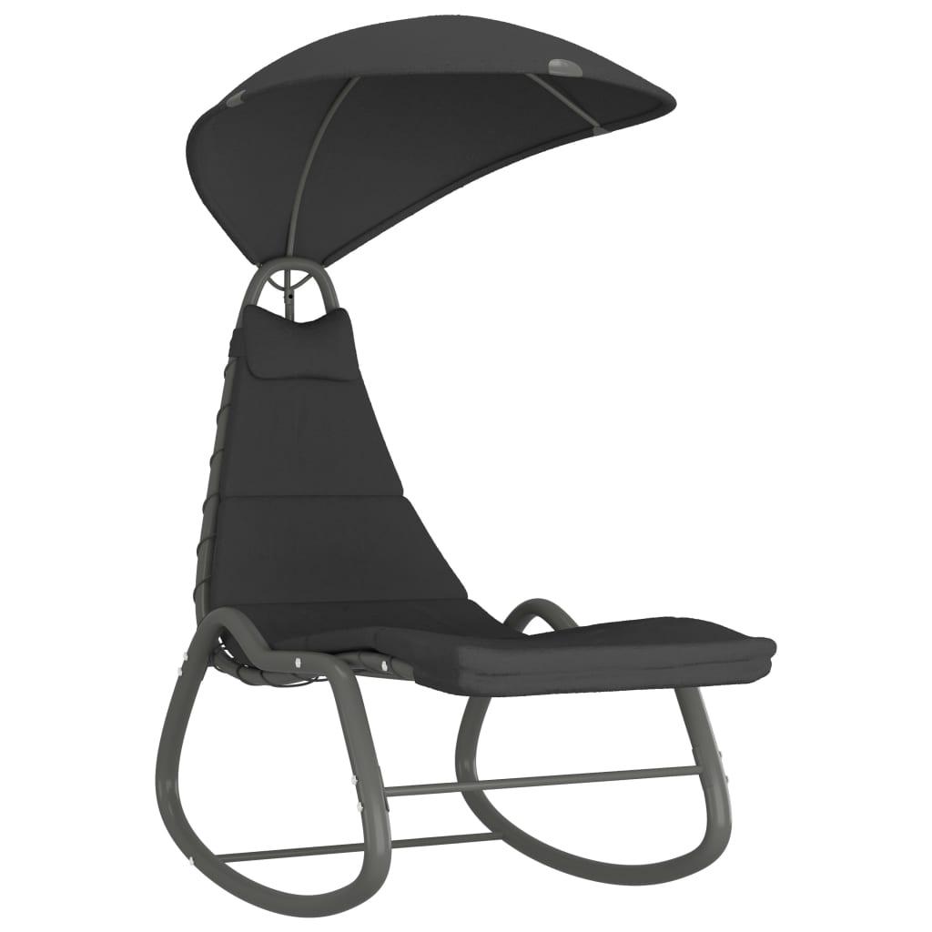 vidaXL Καρέκλα Κουνιστή Κήπου Μαύρη 160 x 80 x 195 εκ. Υφασμάτινη