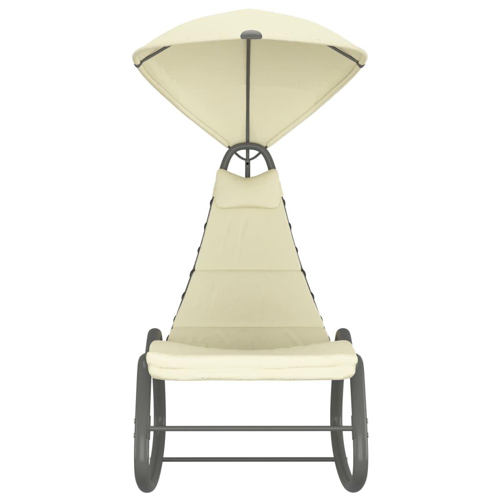 vidaXL Tuinschommelstoel 160x80x195 cm stof creme