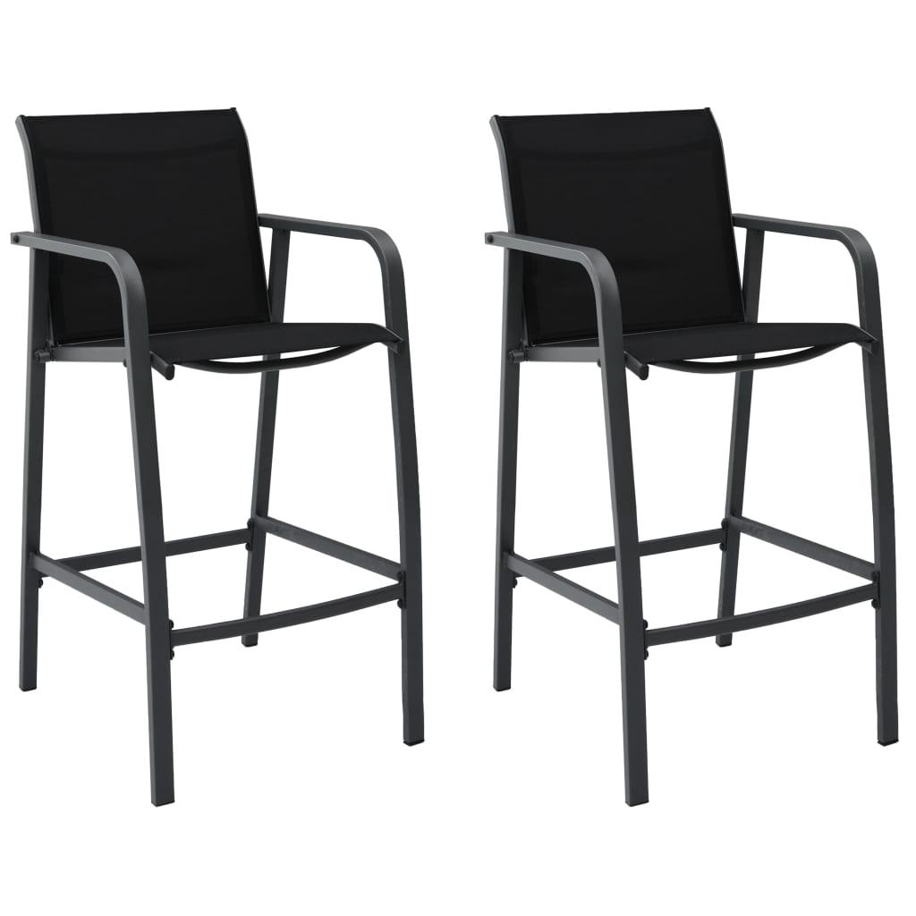 vidaXL Καρέκλες Μπαρ Κήπου 2 τεμ. Μαύρες από Textilene