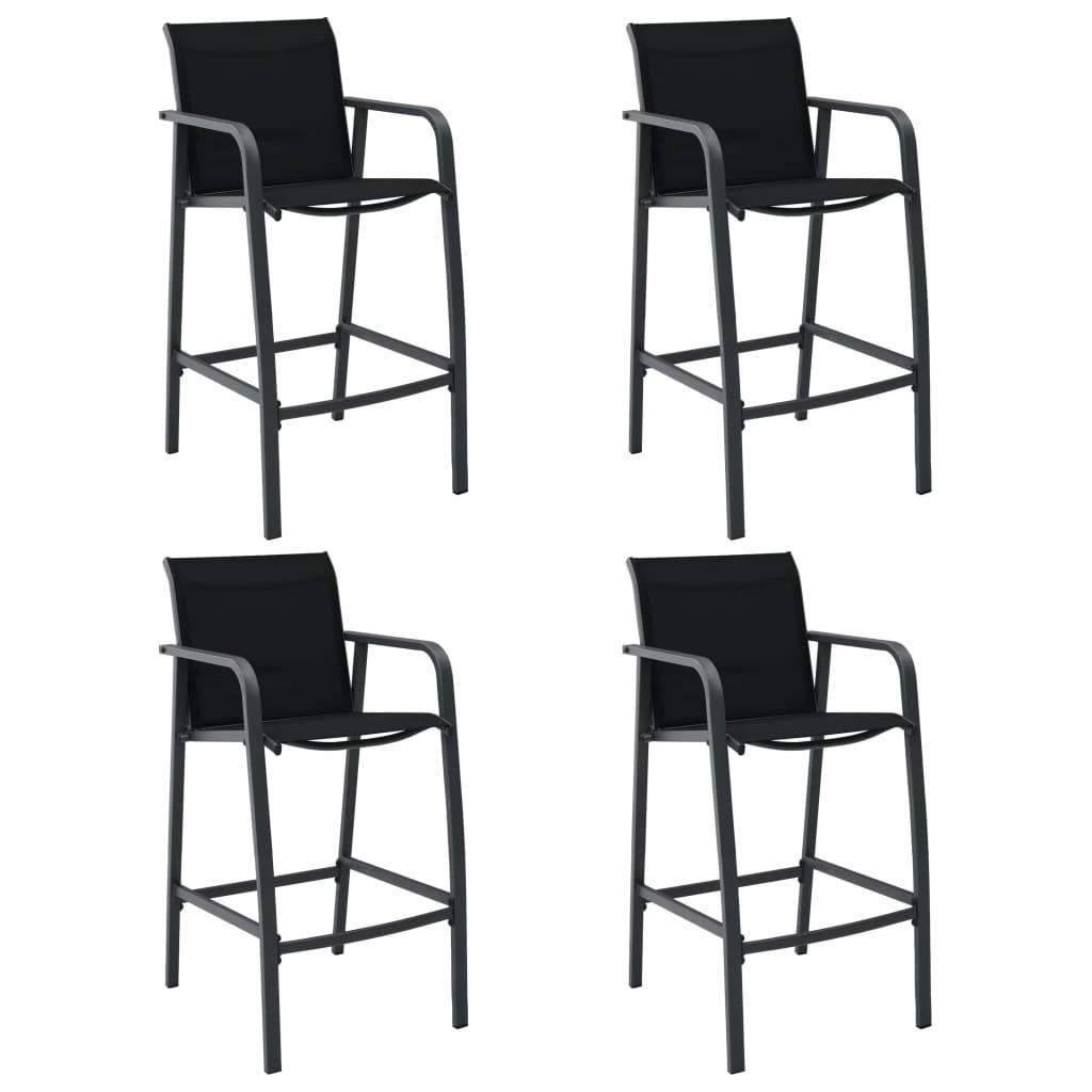 vidaXL Καρέκλες Μπαρ Κήπου 4 τεμ. Μαύρες από Textilene
